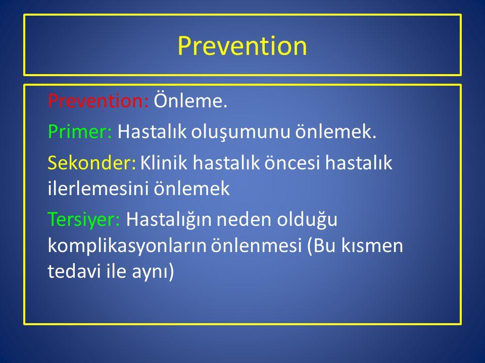 Prevention Prevention: Önleme. Primer: Hastalık oluşumunu önlemek. Sekonder: Klinik hastalık öncesi hastalık ilerlemesini önlemek Tersiyer: Hastalığın