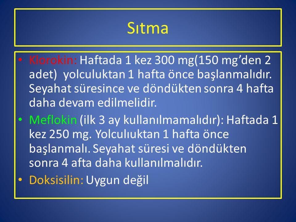 Sıtma Klorokin: Haftada 1 kez 300 mg(150 mg'den 2 adet) yolculuktan 1 hafta önce başlanmalıdır. Seyahat süresince ve döndükten sonra 4 hafta daha deva