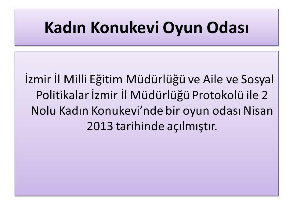 Kadın Konukevi Oyun Odası İzmir İl Milli Eğitim Müdürlüğü ve Aile ve Sosyal Politikalar İzmir İl Müdürlüğü Protokolü ile 2 Nolu Kadın Konukevi'nde bir