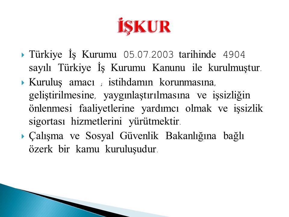  Türkiye İş Kurumu 05.07.2003 tarihinde 4904 sayılı Türkiye İş Kurumu Kanunu ile kurulmuştur.  Kuruluş amacı ; istihdamın korunmasına, geliştirilmes