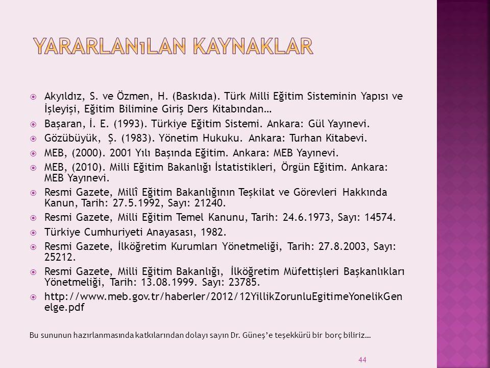 44  Akyıldız, S. ve Özmen, H. (Baskıda). Türk Milli Eğitim Sisteminin Yapısı ve İşleyişi, Eğitim Bilimine Giriş Ders Kitabından…  Başaran, İ. E. (19