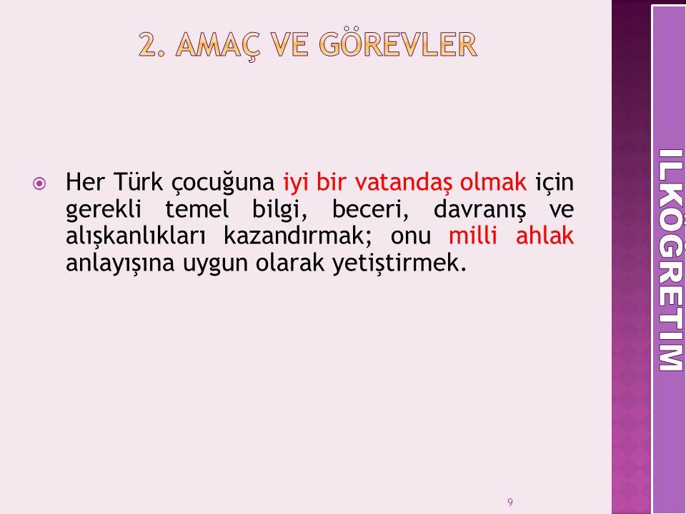 9  Her Türk çocuğuna iyi bir vatandaş olmak için gerekli temel bilgi, beceri, davranış ve alışkanlıkları kazandırmak; onu milli ahlak anlayışına uygu