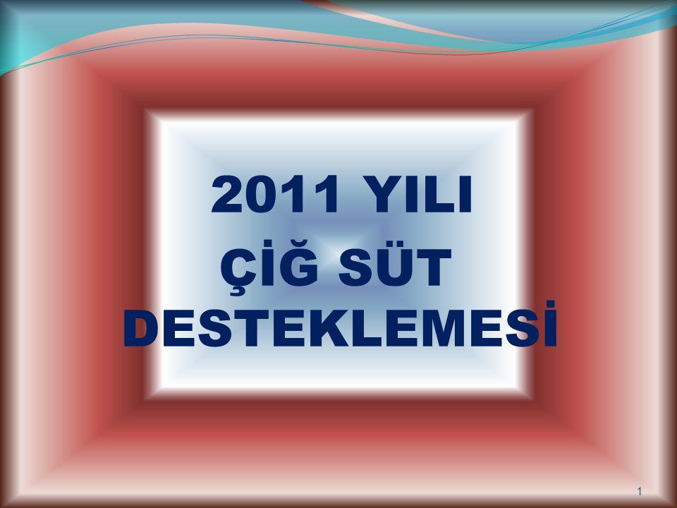2011 YILI ÇİĞ SÜT DESTEKLEMESİ 1
