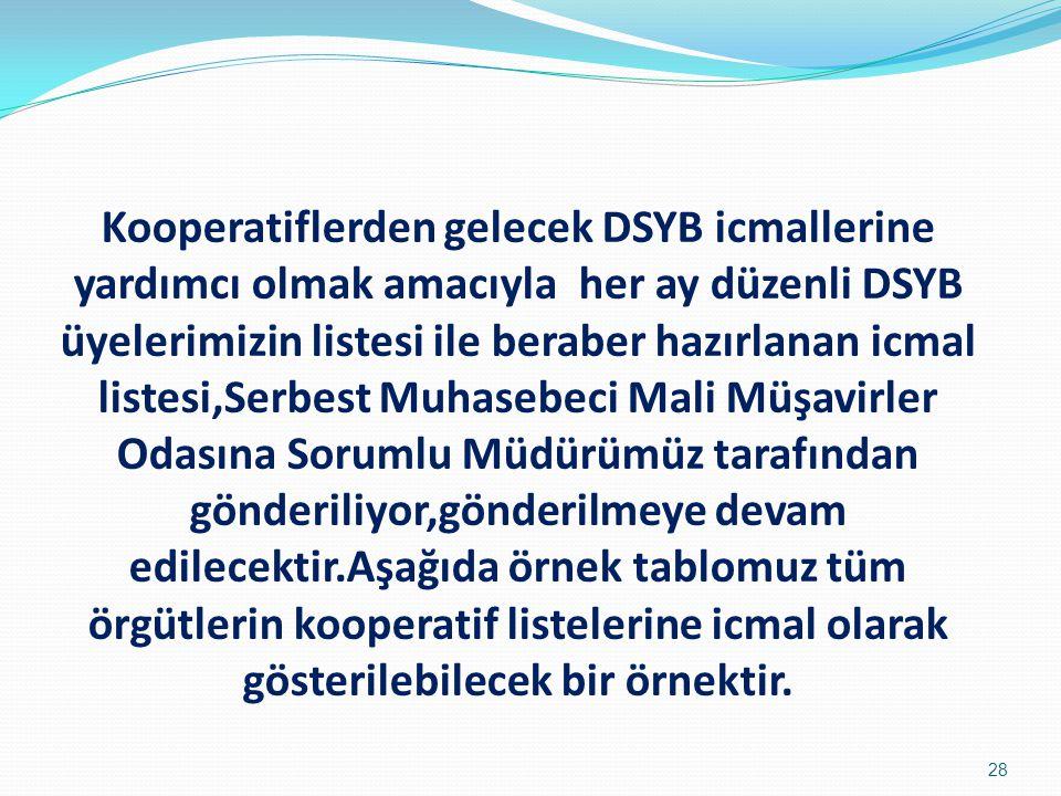 Kooperatiflerden gelecek DSYB icmallerine yardımcı olmak amacıyla her ay düzenli DSYB üyelerimizin listesi ile beraber hazırlanan icmal listesi,Serbes