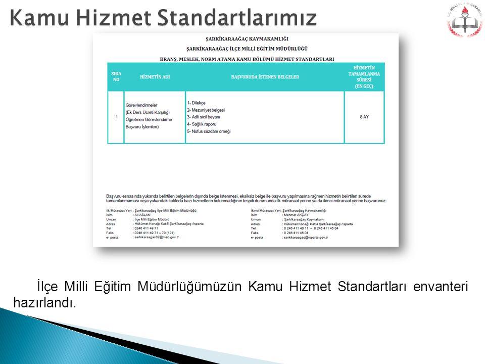 Kamu Hizmet Standartlarımız İlçe Milli Eğitim Müdürlüğümüzün Kamu Hizmet Standartları envanteri hazırlandı.