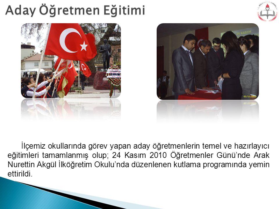 Aday Öğretmen Eğitimi İlçemiz okullarında görev yapan aday öğretmenlerin temel ve hazırlayıcı eğitimleri tamamlanmış olup; 24 Kasım 2010 Öğretmenler G