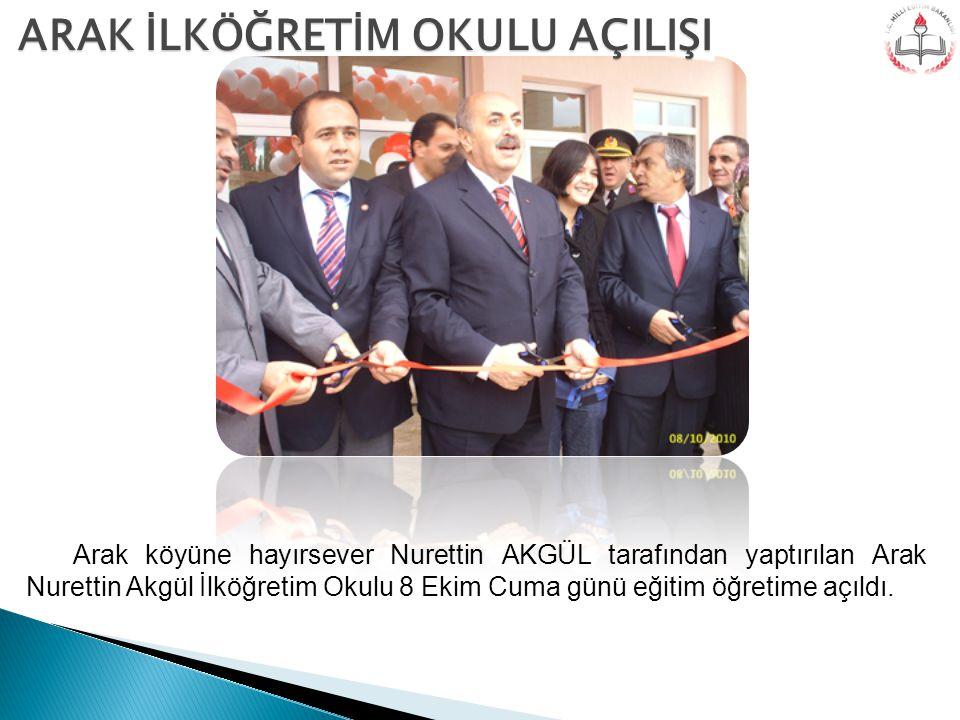 Arak köyüne hayırsever Nurettin AKGÜL tarafından yaptırılan Arak Nurettin Akgül İlköğretim Okulu 8 Ekim Cuma günü eğitim öğretime açıldı. ARAK İLKÖĞRE