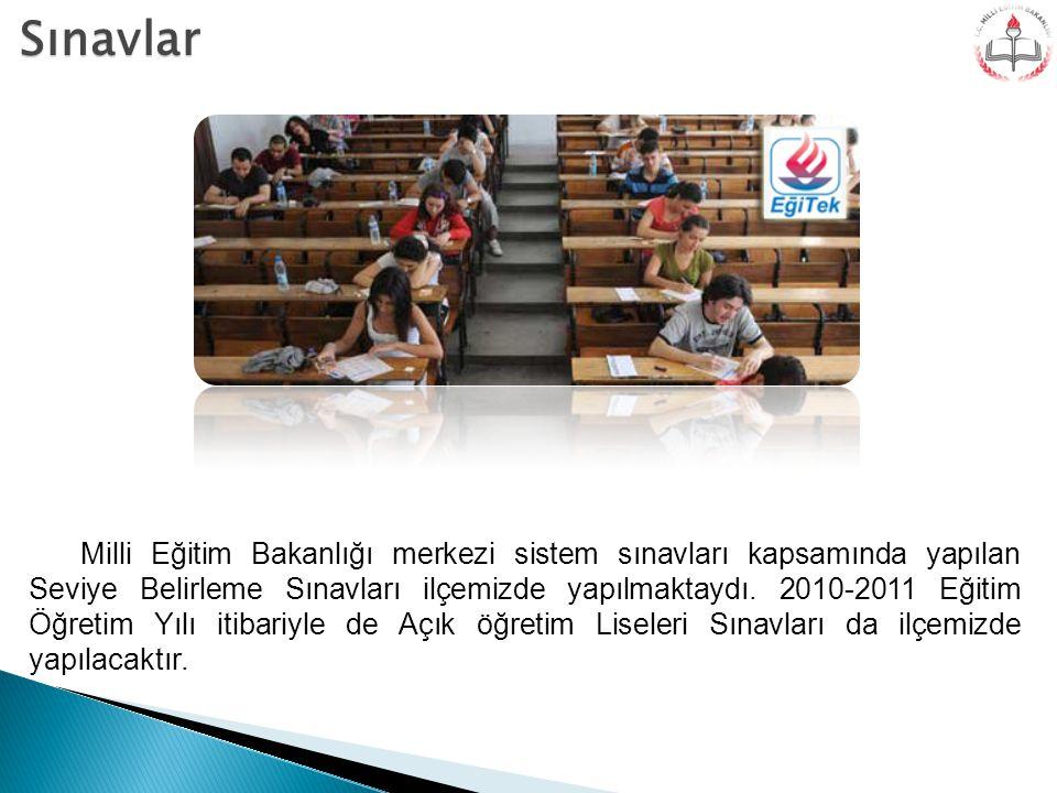 Sınavlar Milli Eğitim Bakanlığı merkezi sistem sınavları kapsamında yapılan Seviye Belirleme Sınavları ilçemizde yapılmaktaydı. 2010-2011 Eğitim Öğret