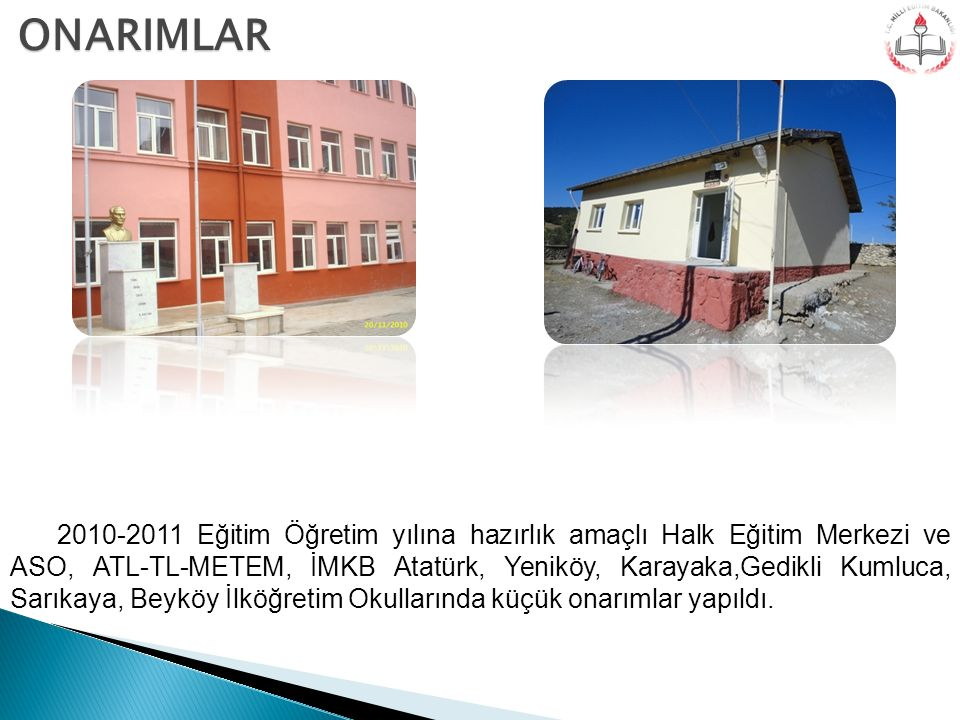 2010-2011 Eğitim Öğretim yılına hazırlık amaçlı Halk Eğitim Merkezi ve ASO, ATL-TL-METEM, İMKB Atatürk, Yeniköy, Karayaka,Gedikli Kumluca, Sarıkaya, B