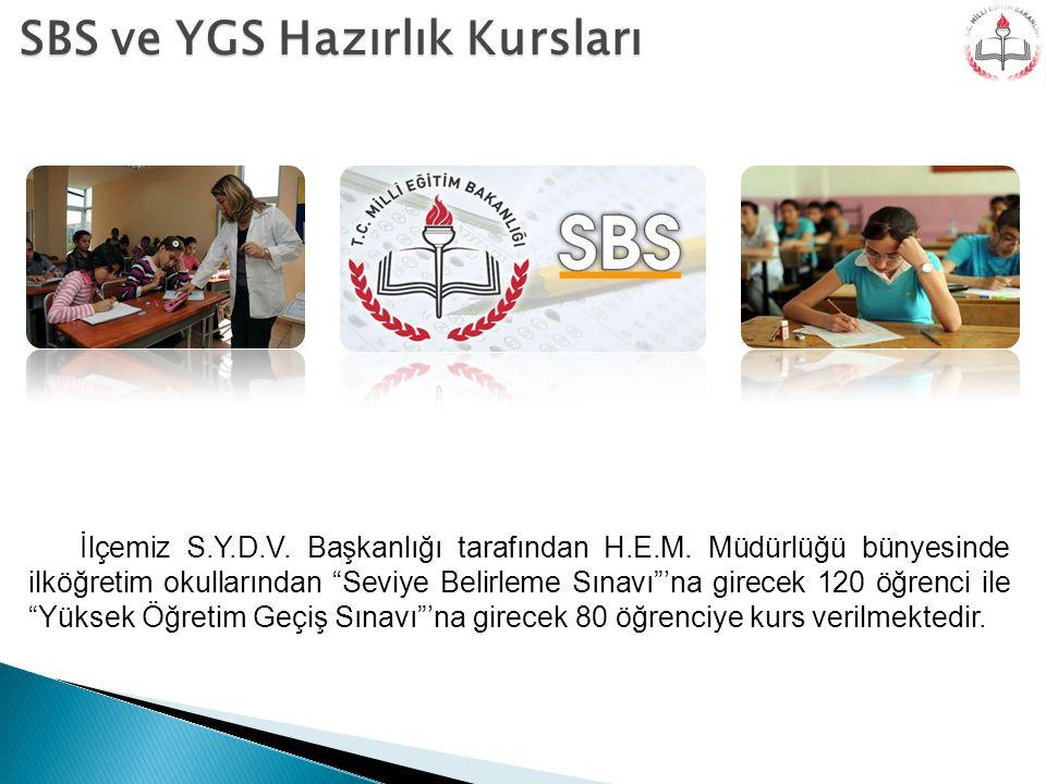 """SBS ve YGS Hazırlık Kursları İlçemiz S.Y.D.V. Başkanlığı tarafından H.E.M. Müdürlüğü bünyesinde ilköğretim okullarından """"Seviye Belirleme Sınavı""""'na g"""