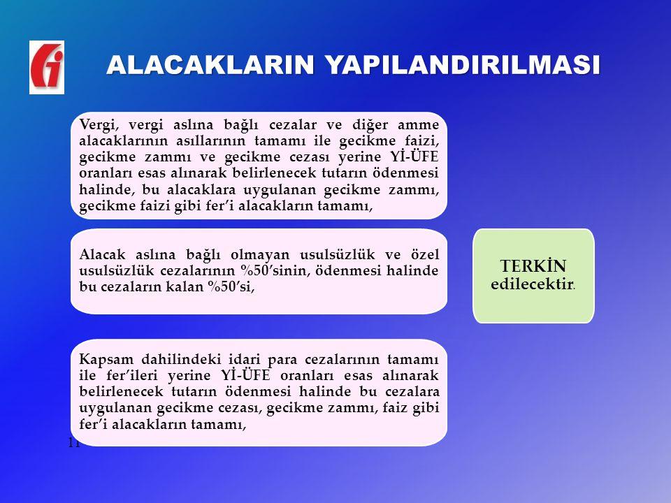 ALACAKLARIN YAPILANDIRILMASI 11 Vergi, vergi aslına bağlı cezalar ve diğer amme alacaklarının asıllarının tamamı ile gecikme faizi, gecikme zammı ve g