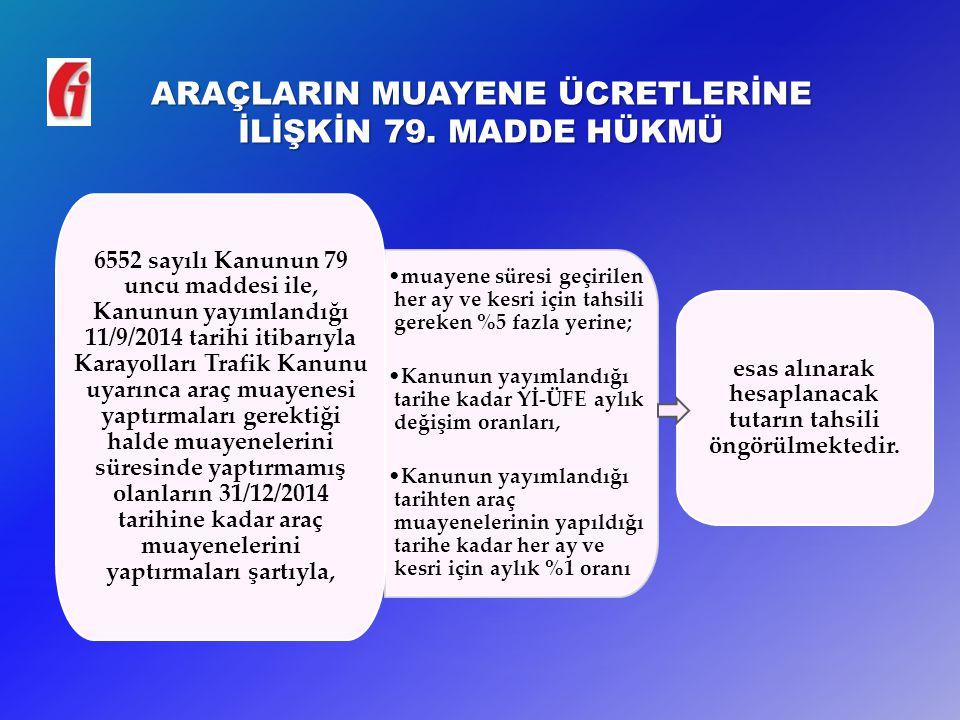 ARAÇLARIN MUAYENE ÜCRETLERİNE İLİŞKİN 79.