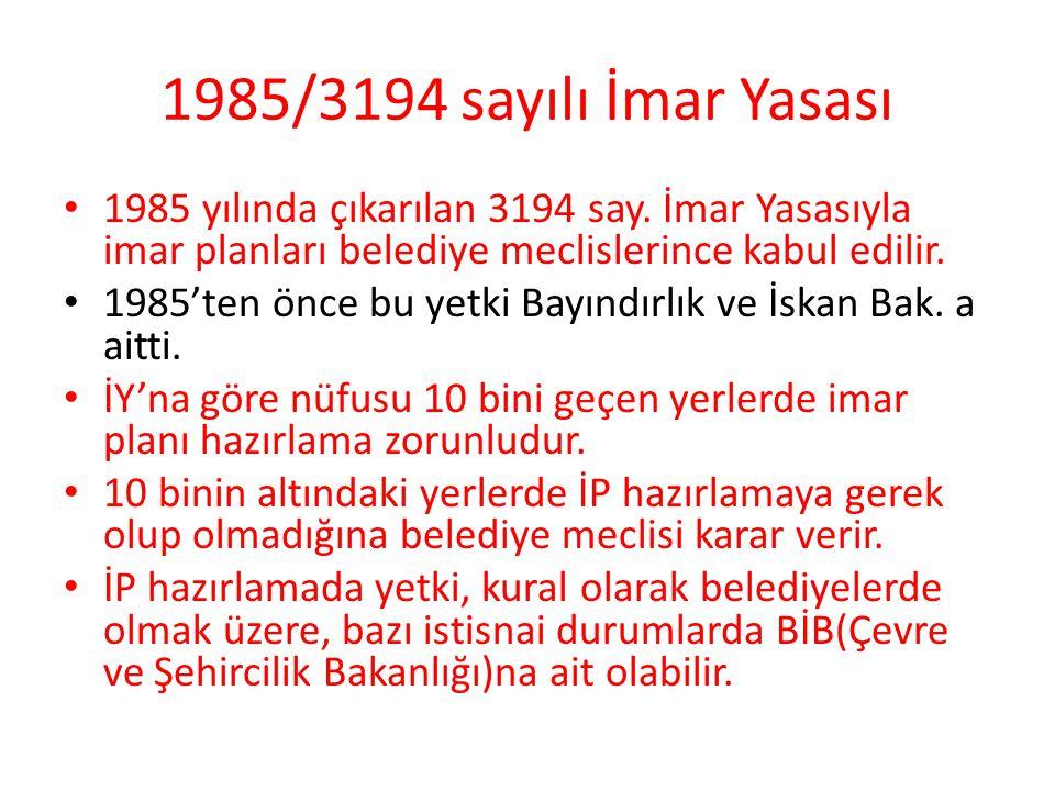 1985/3194 sayılı İmar Yasası 1985 yılında çıkarılan 3194 say. İmar Yasasıyla imar planları belediye meclislerince kabul edilir. 1985'ten önce bu yetki