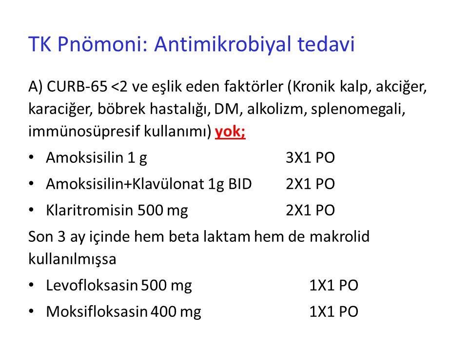 TK Pnömoni: Antimikrobiyal tedavi A) CURB-65 <2 ve eşlik eden faktörler (Kronik kalp, akciğer, karaciğer, böbrek hastalığı, DM, alkolizm, splenomegali