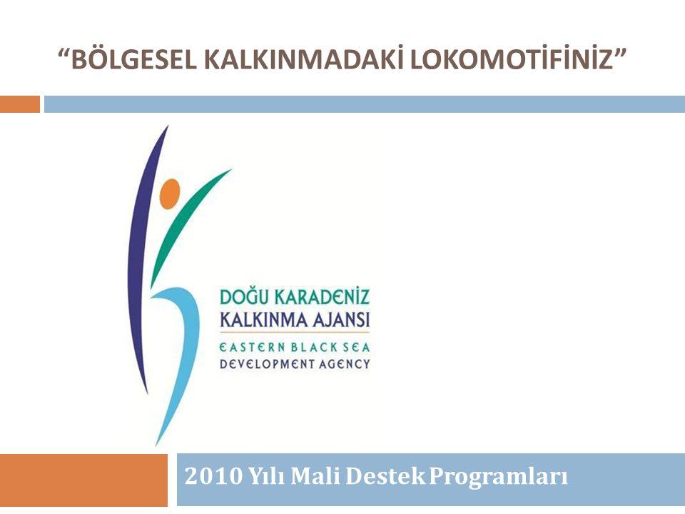 """""""BÖLGESEL KALKINMADAKİ LOKOMOTİFİNİZ"""" 2010 Yılı Mali Destek Programları Mehmet ARSLAN Program Yönetim Birimi"""