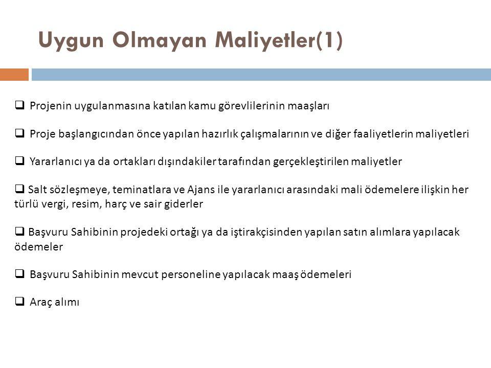 Uygun Olmayan Maliyetler(1)  Projenin uygulanmasına katılan kamu görevlilerinin maaşları  Proje başlangıcından önce yapılan hazırlık çalışmalarının