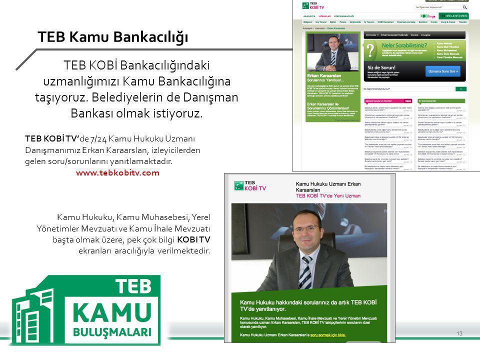 TEB Kamu Bankacılığı TEB KOBİ Bankacılığındaki uzmanlığımızı Kamu Bankacılığına taşıyoruz.