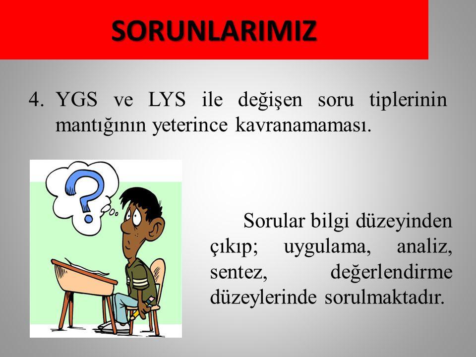 4.YGS ve LYS ile değişen soru tiplerinin mantığının yeterince kavranamaması.
