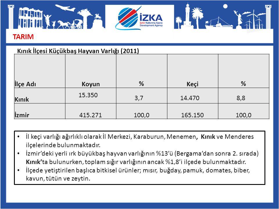 TARIM İlçe AdıKoyun % Keçi % Kınık 15.350 3,714.4708,8 İzmir415.271100,0165.150100,0 İl keçi varlığı ağırlıklı olarak İl Merkezi, Karaburun, Menemen,