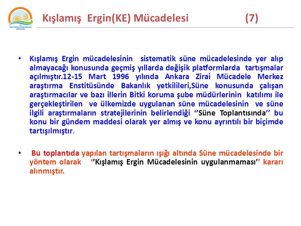 Kışlamış Ergin(KE) Mücadelesi (7) Kışlamış Ergin mücadelesinin sistematik süne mücadelesinde yer alıp almayacağı konusunda geçmiş yıllarda değişik platformlarda tartışmalar açılmıştır.12-15 Mart 1996 yılında Ankara Zirai Mücadele Merkez araştırma Enstitüsünde Bakanlık yetkilileri,Süne konusunda çalışan araştırmacılar ve bazı illerin Bitki koruma şube müdürlerinin katılımı ile gerçekleştirilen ve ülkemizde uygulanan süne mücadelesinin ve süne ilgili araştırmaların stratejilerinin belirlendiği ''Süne Toplantısında'' bu konu bir gündem maddesi olarak yer almış ve konu ayrıntılı bir biçimde tartışılmıştır.