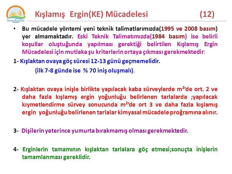 Kışlamış Ergin(KE) Mücadelesi (12) Bu mücadele yöntemi yeni teknik talimatlarımızda(1995 ve 2008 basım) yer almamaktadır.
