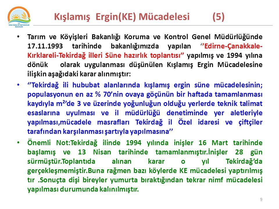 Kışlamış Ergin(KE) Mücadelesi (5) Tarım ve Köyişleri Bakanlığı Koruma ve Kontrol Genel Müdürlüğünde 17.11.1993 tarihinde bakanlığımızda yapılan ''Edirne-Çanakkale- Kırklareli-Tekirdağ illeri Süne hazırlık toplantısı'' yapılmış ve 1994 yılına dönük olarak uygulanması düşünülen Kışlamış Ergin Mücadelesine ilişkin aşağıdaki karar alınmıştır: ''Tekirdağ ili hububat alanlarında kışlamış ergin süne mücadelesinin; populasyonun en az % 70'nin ovaya göçünün bir haftada tamamlanması kaydıyla m²'de 3 ve üzerinde yoğunluğun olduğu yerlerde teknik talimat esaslarına uyulması ve il müdürlüğü denetiminde yer aletleriyle yapılması,mücadele masrafları Tekirdağ il Özel idaresi ve çiftçiler tarafından karşılanması şartıyla yapılmasına'' Önemli Not:Tekirdağ ilinde 1994 yılında inişler 16 Mart tarihinde başlamış ve 13 Nisan tarihinde tamamlanmıştır.İnişler 28 gün sürmüştür.Toplantıda alınan karar o yıl Tekirdağ'da gerçekleşmemiştir.Buna rağmen bazı köylerde KE mücadelesi yaptırılmış tır.Sonuçta dişi bireyler yumurta bıraktığından tekrar nimf mücadelesi yapılması durumunda kalınılmıştır.
