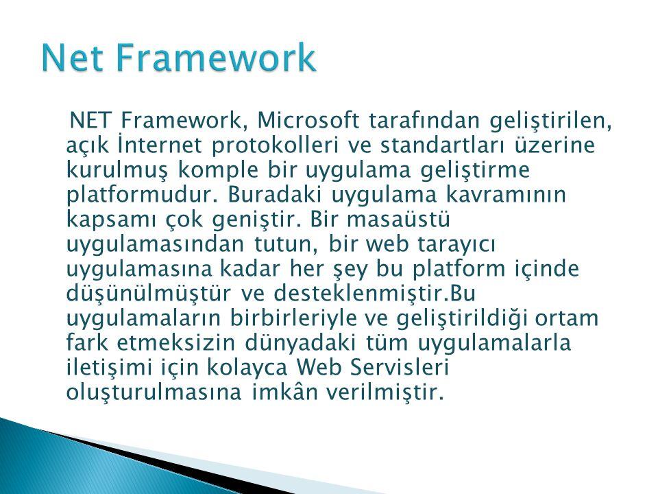 NET Framework, Microsoft tarafından geliştirilen, açık İnternet protokolleri ve standartları üzerine kurulmuş komple bir uygulama geliştirme platformu