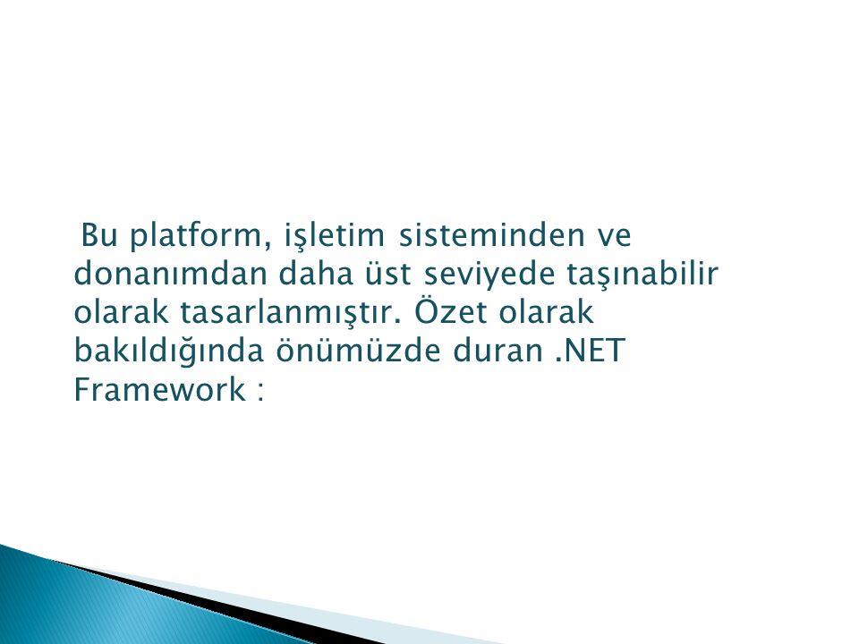 Bu platform, işletim sisteminden ve donanımdan daha üst seviyede taşınabilir olarak tasarlanmıştır. Özet olarak bakıldığında önümüzde duran.NET Framew