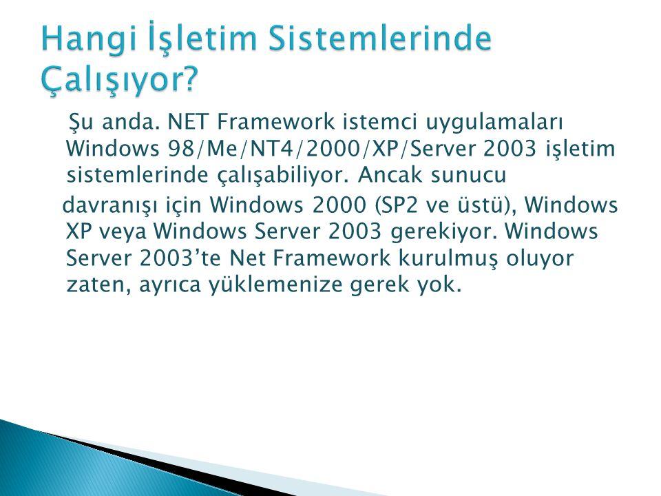 Şu anda. NET Framework istemci uygulamaları Windows 98/Me/NT4/2000/XP/Server 2003 işletim sistemlerinde çalışabiliyor. Ancak sunucu davranışı için Win