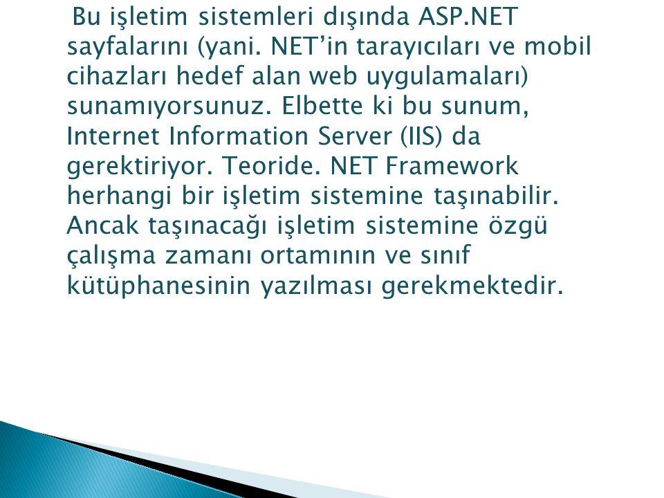 Bu işletim sistemleri dışında ASP.NET sayfalarını (yani. NET'in tarayıcıları ve mobil cihazları hedef alan web uygulamaları) sunamıyorsunuz. Elbette k