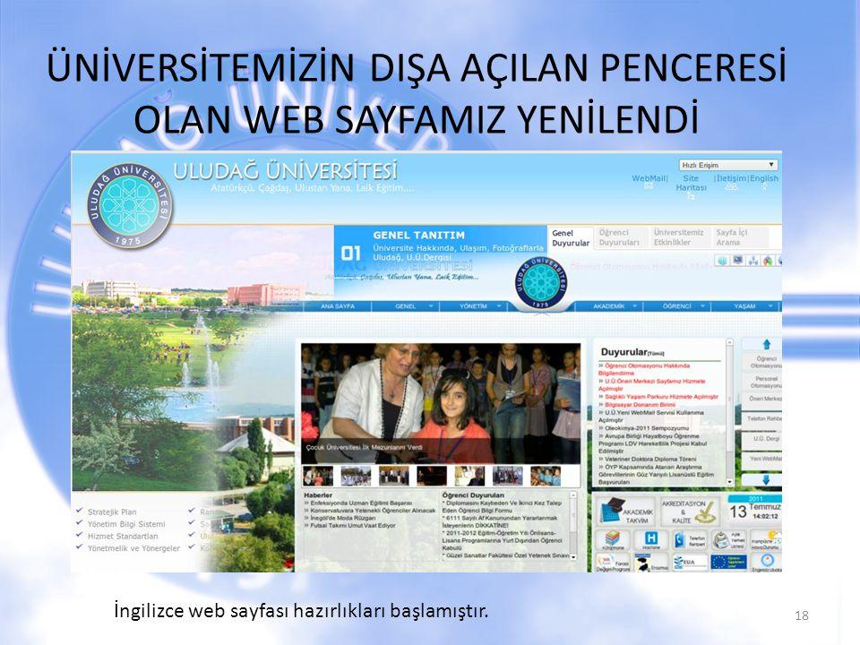 ÜNİVERSİTEMİZİN DIŞA AÇILAN PENCERESİ OLAN WEB SAYFAMIZ YENİLENDİ 18 İngilizce web sayfası hazırlıkları başlamıştır.