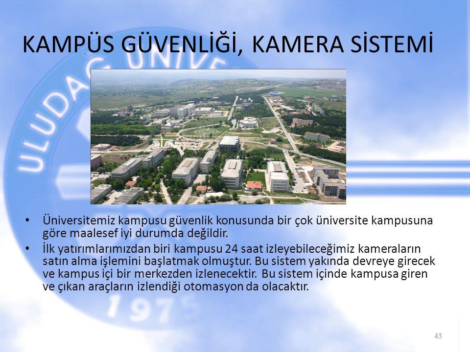 KAMPÜS GÜVENLİĞİ, KAMERA SİSTEMİ Üniversitemiz kampusu güvenlik konusunda bir çok üniversite kampusuna göre maalesef iyi durumda değildir. İlk yatırım