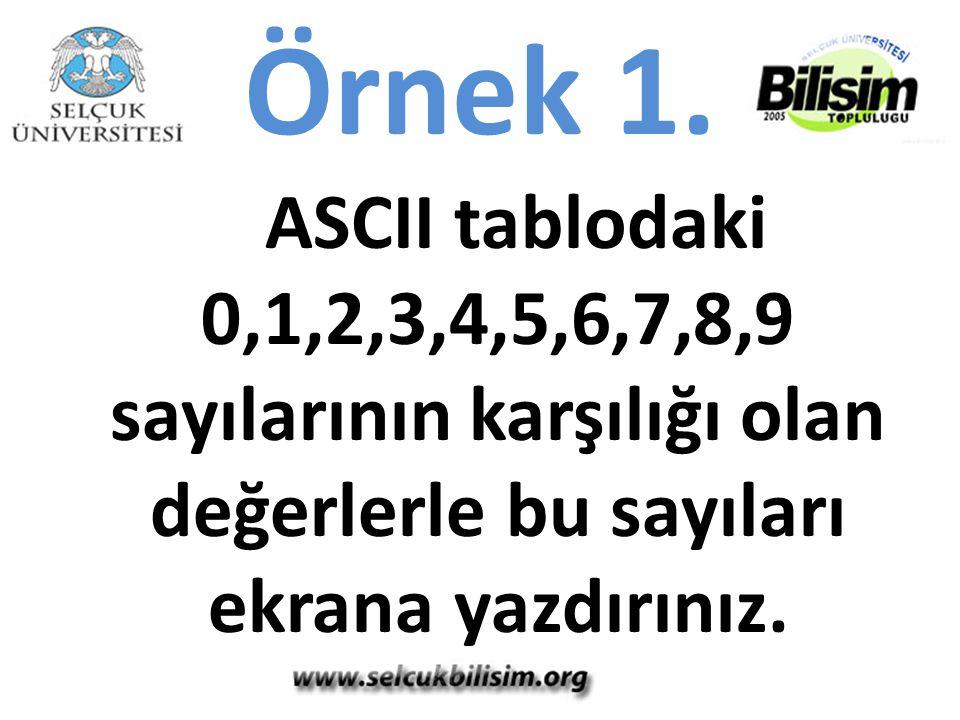 Örnek 1. ASCII tablodaki 0,1,2,3,4,5,6,7,8,9 sayılarının karşılığı olan değerlerle bu sayıları ekrana yazdırınız.