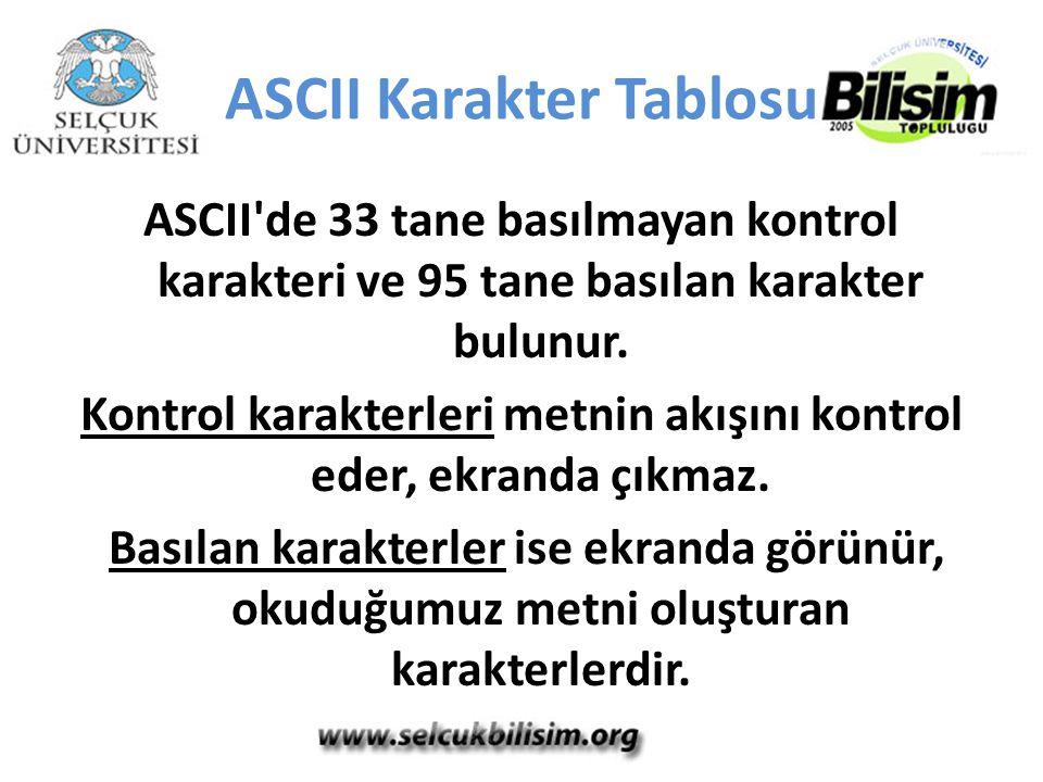 ASCII Karakter Tablosu ASCII'de 33 tane basılmayan kontrol karakteri ve 95 tane basılan karakter bulunur. Kontrol karakterleri metnin akışını kontrol