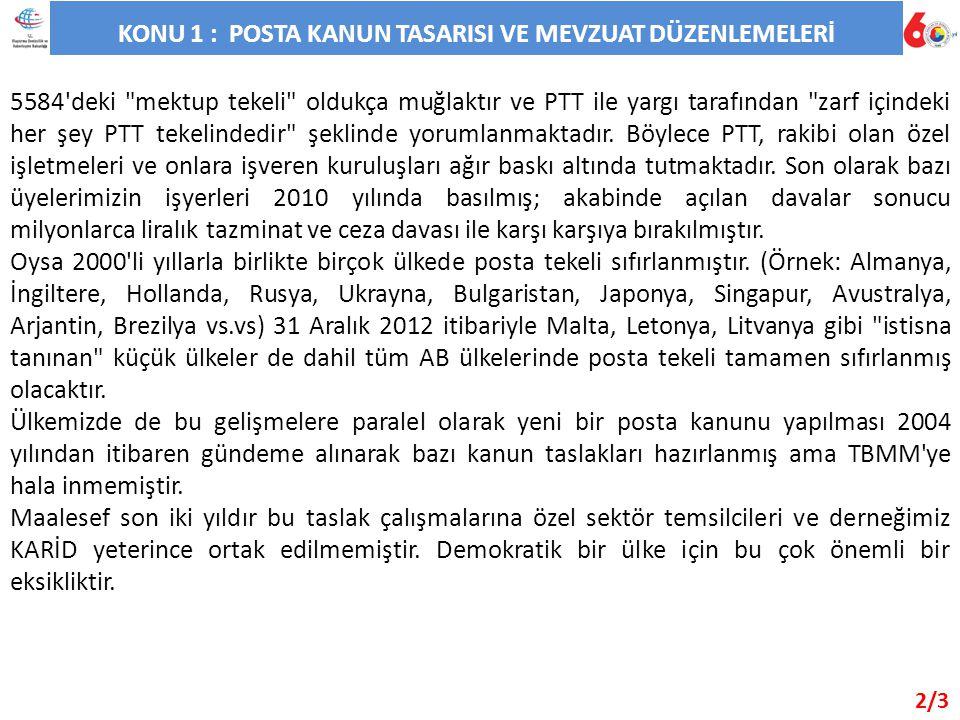 KONU 1 : POSTA KANUN TASARISI VE MEVZUAT DÜZENLEMELERİ 5584 deki mektup tekeli oldukça muğlaktır ve PTT ile yargı tarafından zarf içindeki her şey PTT tekelindedir şeklinde yorumlanmaktadır.