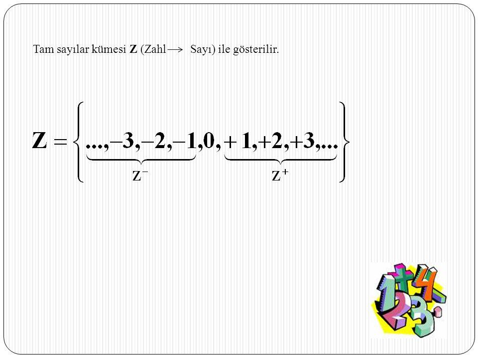 Tam sayılar kümesi Z (Zahl Sayı) ile gösterilir.