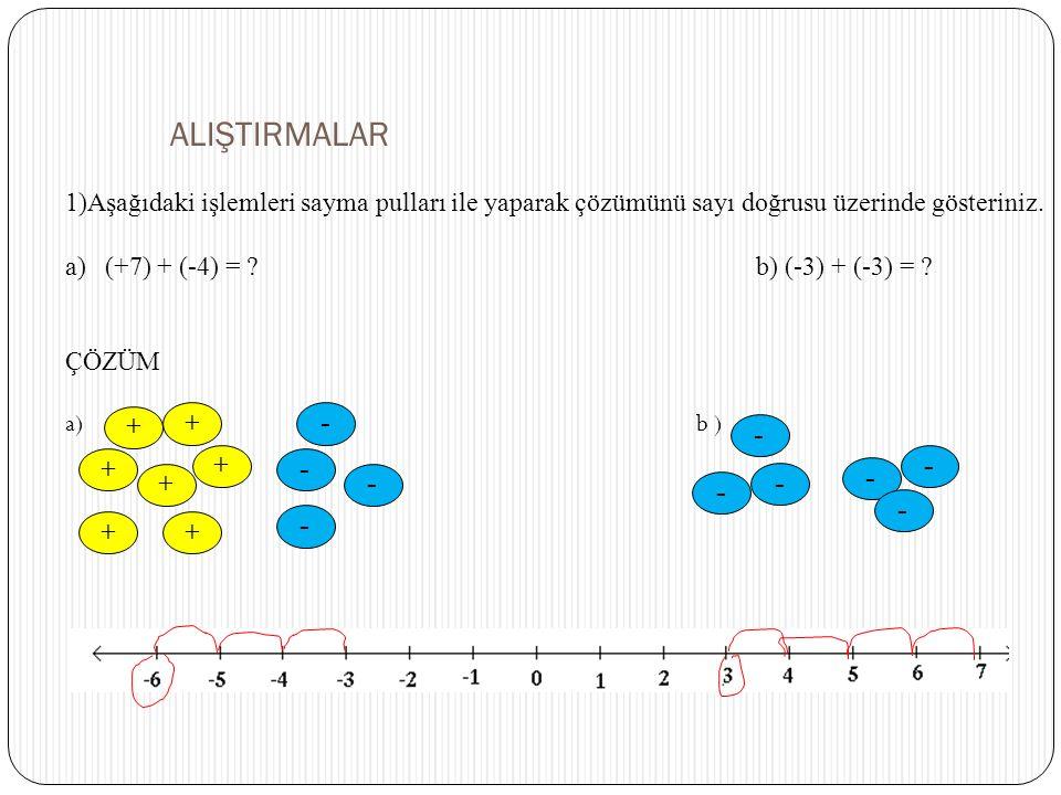 ALIŞTIRMALAR 1)Aşağıdaki işlemleri sayma pulları ile yaparak çözümünü sayı doğrusu üzerinde gösteriniz. a)(+7) + (-4) = ? b) (-3) + (-3) = ? ÇÖZÜM a)