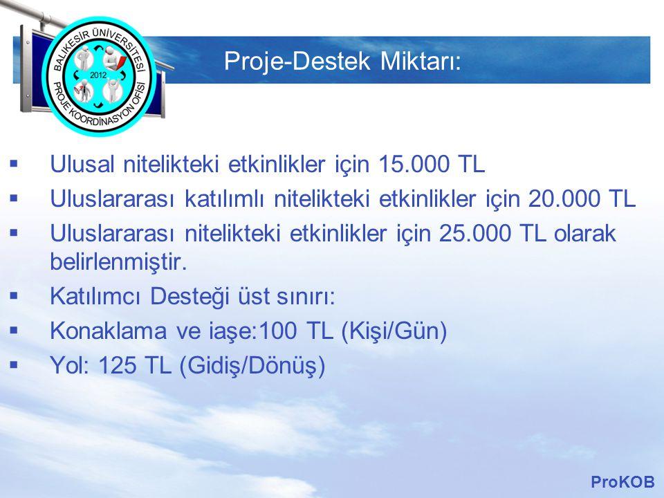 LOGO Proje-Destek Miktarı:  Ulusal nitelikteki etkinlikler için 15.000 TL  Uluslararası katılımlı nitelikteki etkinlikler için 20.000 TL  Uluslararası nitelikteki etkinlikler için 25.000 TL olarak belirlenmiştir.