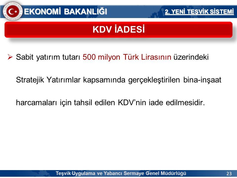 23 EKONOMİ BAKANLIĞI  Sabit yatırım tutarı 500 milyon Türk Lirasının üzerindeki Stratejik Yatırımlar kapsamında gerçekleştirilen bina-inşaat harcamal