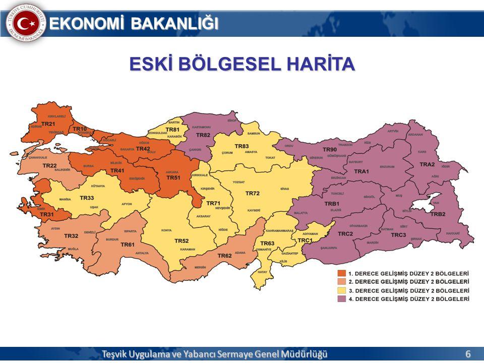27 EKONOMİ BAKANLIĞI  İllerimiz, 2011 yılında yapılan Sosyo-Ekonomik Gelişmişlik Endeksi (SEGE) çalışması sonuçlarına göre gruplandırılarak teşvikler açısından 6 bölgeye ayrılmıştır.
