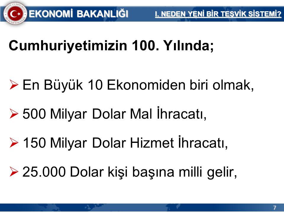 7 EKONOMİ BAKANLIĞI Cumhuriyetimizin 100. Yılında;  En Büyük 10 Ekonomiden biri olmak,  500 Milyar Dolar Mal İhracatı,  150 Milyar Dolar Hizmet İhr