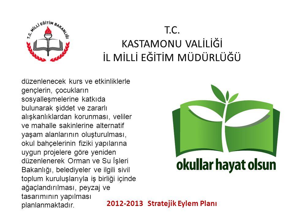 T.C. KASTAMONU VALİLİĞİ İL MİLLİ EĞİTİM MÜDÜRLÜĞÜ 2012-2013 Stratejik Eylem Planı düzenlenecek kurs ve etkinliklerle gençlerin, çocukların sosyalleşme