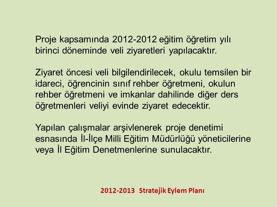 2012-2013 Stratejik Eylem Planı Proje kapsamında 2012-2012 eğitim öğretim yılı birinci döneminde veli ziyaretleri yapılacaktır. Ziyaret öncesi veli bi