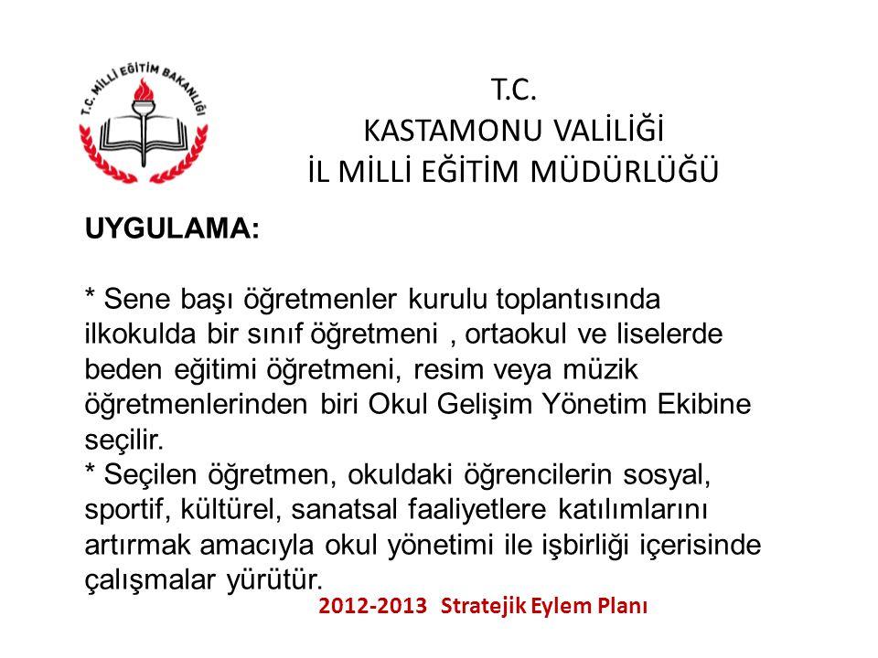 T.C. KASTAMONU VALİLİĞİ İL MİLLİ EĞİTİM MÜDÜRLÜĞÜ 2012-2013 Stratejik Eylem Planı UYGULAMA: * Sene başı öğretmenler kurulu toplantısında ilkokulda bir