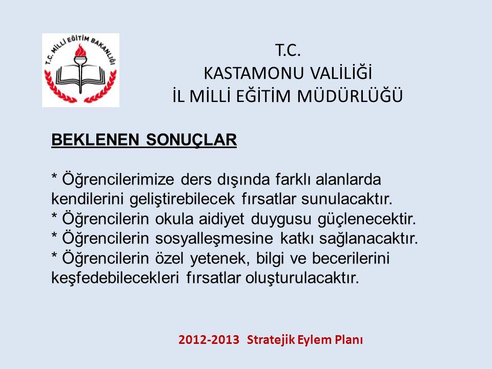 T.C. KASTAMONU VALİLİĞİ İL MİLLİ EĞİTİM MÜDÜRLÜĞÜ 2012-2013 Stratejik Eylem Planı BEKLENEN SONUÇLAR * Öğrencilerimize ders dışında farklı alanlarda ke
