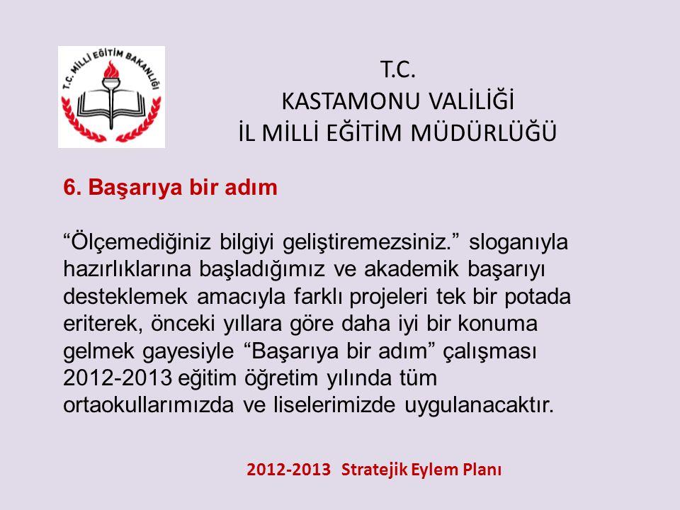 """T.C. KASTAMONU VALİLİĞİ İL MİLLİ EĞİTİM MÜDÜRLÜĞÜ 2012-2013 Stratejik Eylem Planı 6. Başarıya bir adım """"Ölçemediğiniz bilgiyi geliştiremezsiniz."""" slog"""