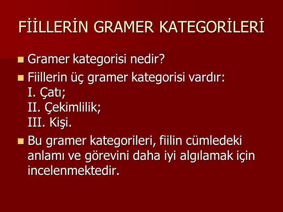 Gramer kategorisi nedir? Gramer kategorisi nedir? Fiillerin üç gramer kategorisi vardır: I. Çatı; II. Çekimlilik; III. Kişi. Fiillerin üç gramer kateg