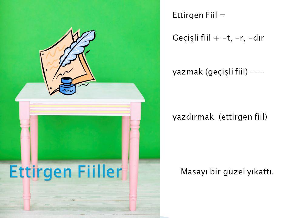 Ettirgen Fiil = Geçişli fiil + -t, -r, -dır yazmak (geçişli fiil) --- yazdırmak (ettirgen fiil) Masayı bir güzel yıkattı.