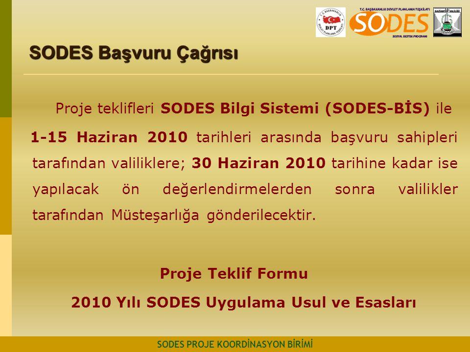 SODES Başvuru Çağrısı SODES PROJE KOORDİNASYON BİRİMİ Proje teklifleri SODES Bilgi Sistemi (SODES-BİS) ile 1-15 Haziran 2010 tarihleri arasında başvur