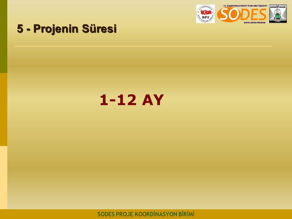 5 - Projenin Süresi SODES PROJE KOORDİNASYON BİRİMİ 1-12 AY
